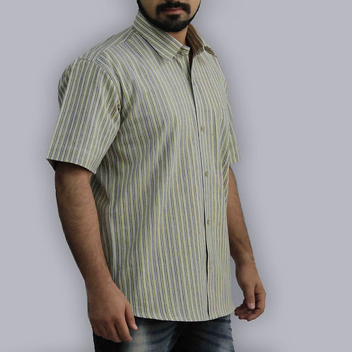 Lemon & Green Stripes Half Sleeves Handwoven Cotton Shirt