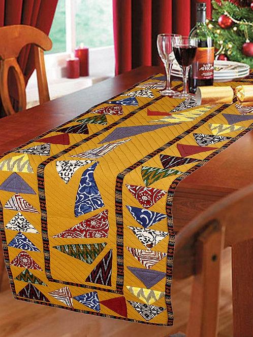 Multicolored Handwoven  Designer Runner With Ikkat & Hand Block Print Patch