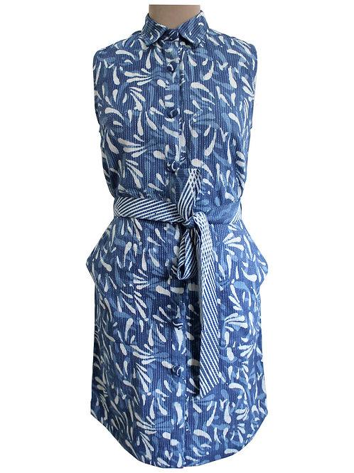 Handblock Printed Sleeveless Shirt Dress