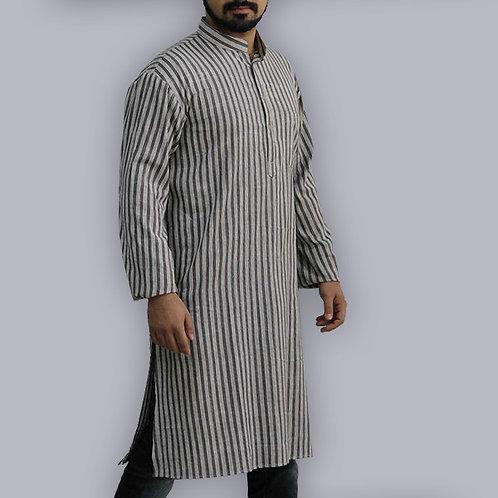 Black & Purple Stripes Full Sleeves Handwoven Cotton Long Kurta