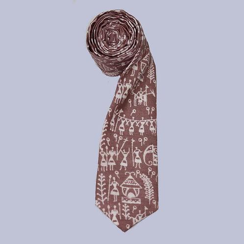 Brown Handwoven Cotton Tie