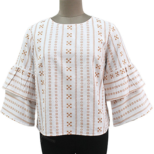 Beige White Cotton Handwoven Ikat Top