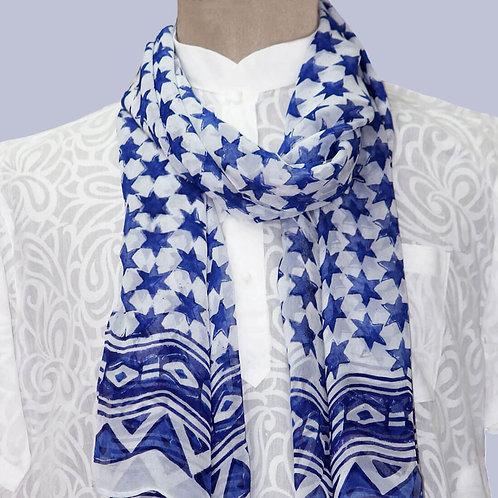 Blue White Hand Block Printed Chiffon Stole