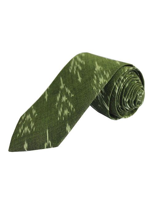 Green Handwoven Ikat Cotton Tie
