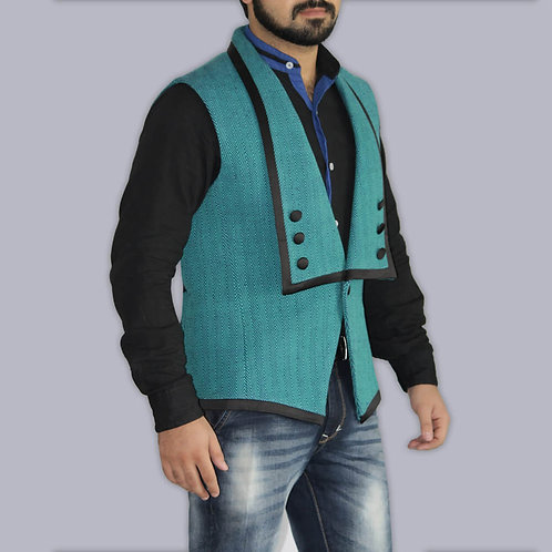 Handwoven Green And Blue Stripes Waist Coat With Black Satin Border