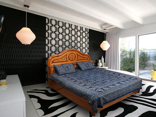Indigo Ajrakh Hand Block Printed Cotton Double Bedsheet With Two Pillow Covers
