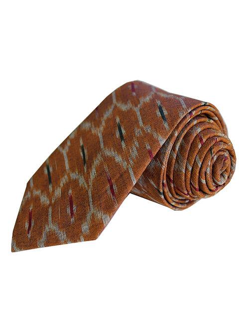 Brown Handwoven Ikat Cotton Tie