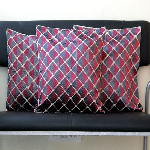 Maroon And Grey Phulkari Cushion Covers (Set Of 3)