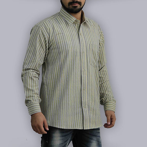 Lemon & Green Stripes Full Sleeves Handwoven Cotton Shirt
