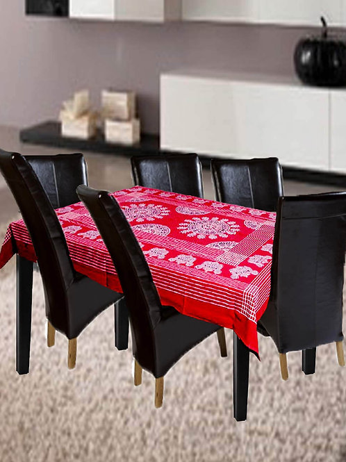 Red Colour Ajrak Hand Block Printed Cotton Table Cover