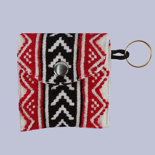 Red-White Toda Hand Embroidered Coin Purse