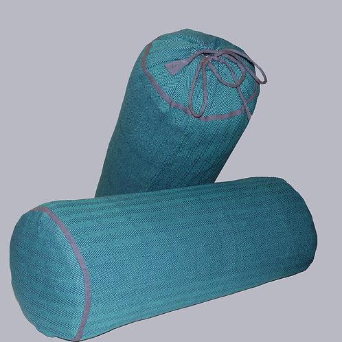 Blue-Green Handwoven Chevron Bolster Covers (Set Of 2)