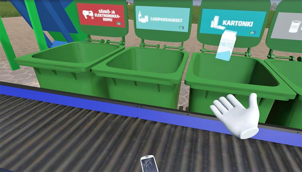Lassila & Tikanojalle toteutetussa kierrätyspelissä käyttäjä oppii mihin koriin mikäkin jäte kuuluu. Toteuttajana Avains Oy.