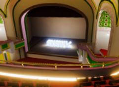 South by Soutwest-tapahtuman promokuva tyhjästä teatterista ylhäältä lavalle päin kuvattuna, lavalla SXSW logo