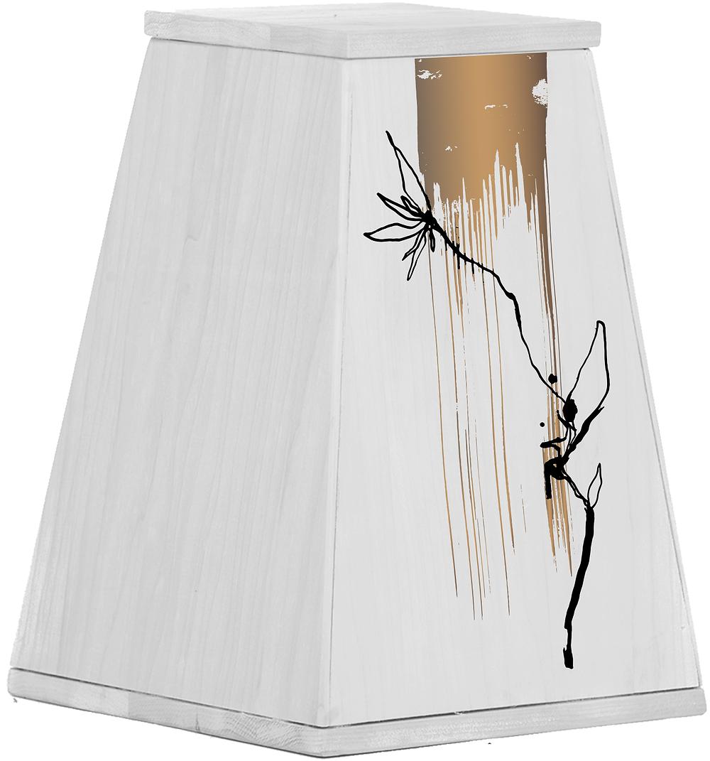 Uurna, jossa Jukka Rintalan suunnittelema design. Yläreunassa kultaista maalia, joka valuu alaspäin ja keskellä maalin edessä mustalla piirretty kukka
