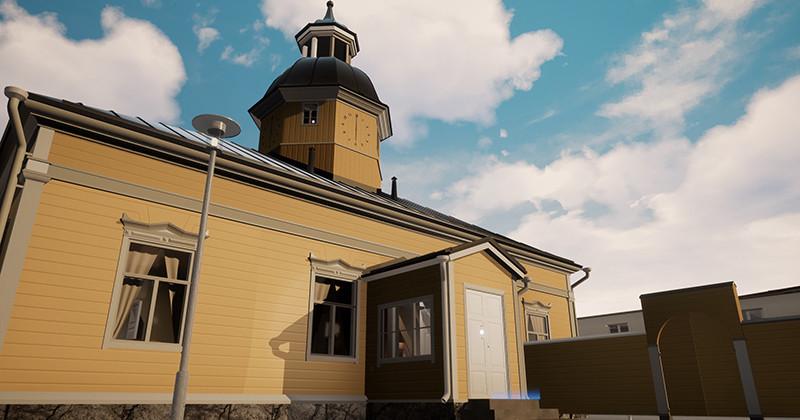 Kajaanin raatihuoneeseen sijoittuvassa VR-pelissä seikkaillaan talonmiehen matkassa eri aikakausilla.