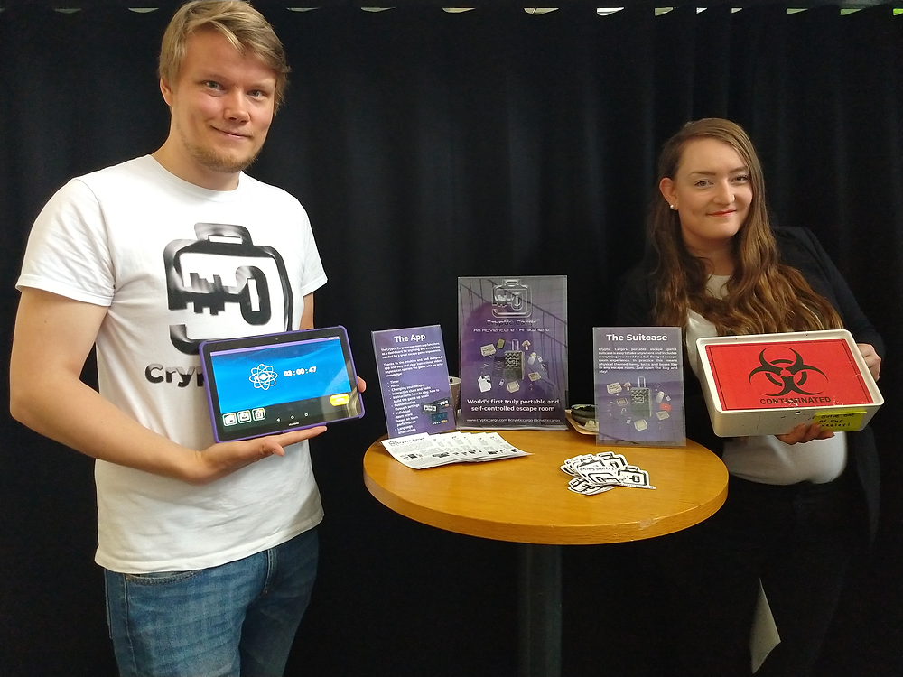 Cryptic Cargo team: Max Sandberg (CTO and Co-founder) and Laura Aaltonen (CEO and Co-founder).