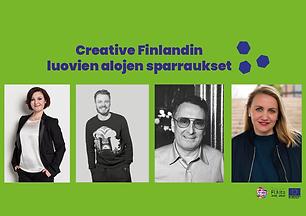 Ulrika Björkman, Jukka Immonen, Ami Hasan ja Elli Toivoniemi. He ovat vieraina Creative Finlandin järjestämissä sparraustilaisuuksissa.