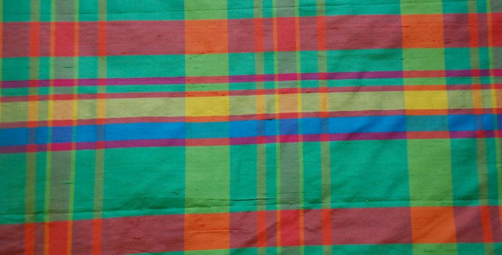 Bright Plaid Silk Fabric - Drapery Panel