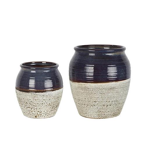 Navy Tuscan Ceramic Pot