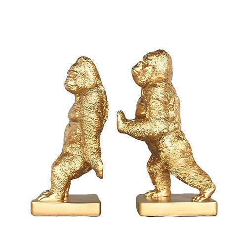 Gorilla Bookends Gold