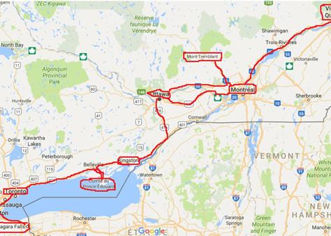 Exemple d'itinéraire de Niagara à Québec