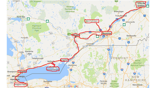 Exemple de trajet Niagara jusqu'à Québec