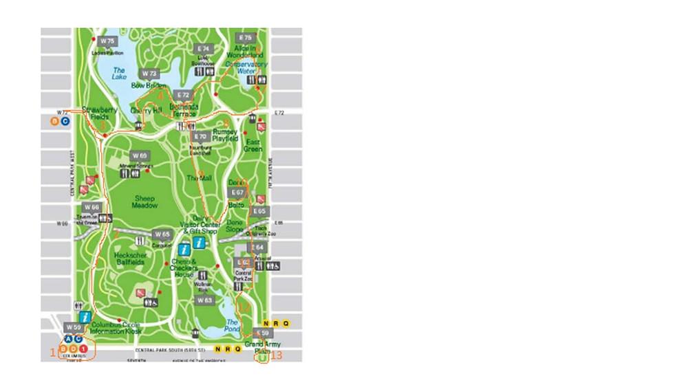 Central Park map pour un court trajet