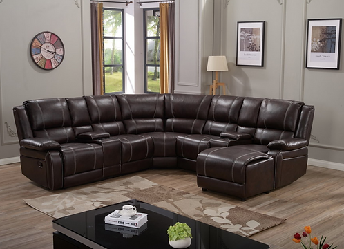 Bonded Leather Sectional 2 Recliners - Master 9026