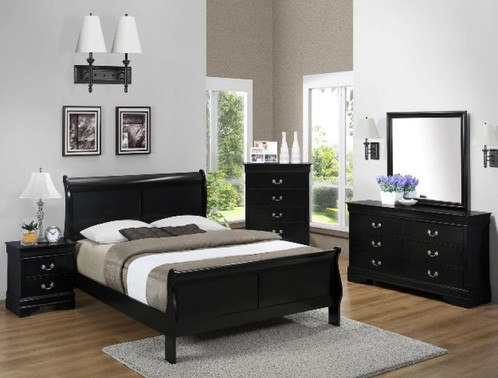 Louis Philippe Bedroom Set - Black | Houston Furniture. Low price ...