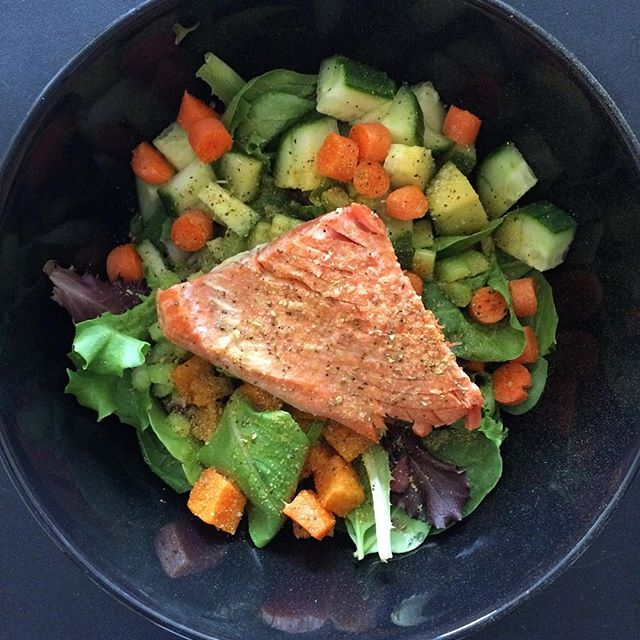 Salmon over Mixed Greens