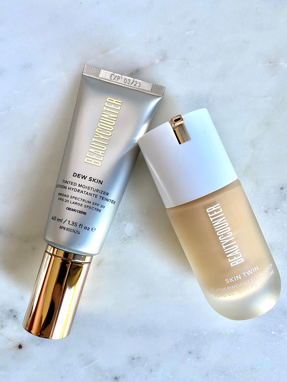 Beautycounter Dew Skin Tinted Moisturizer vs Skin Twin Foundation