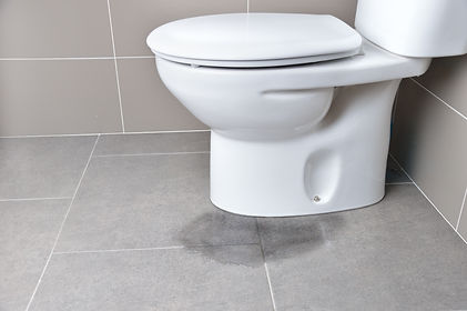 Leakage of water from a toilet due to bl