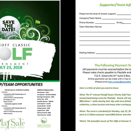 5th Annual Kickoff Classic Charity Golf Tournament - July 23, 2018