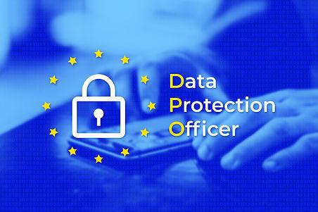 DPO - Data Protection Officer. EU flag w