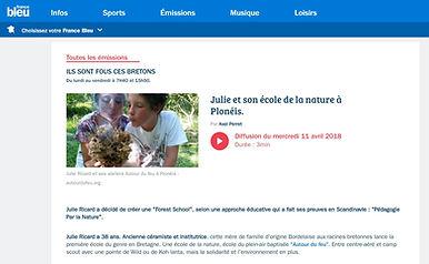 Autour du Feu - Forest School à France Bleu Breizh Izel