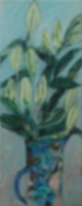 White lilies in a blue jug Resized.jpg