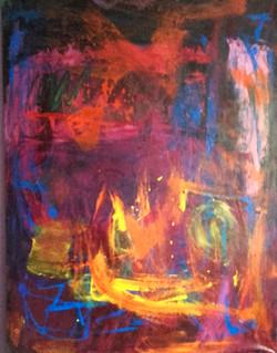 Abstrakcja z fioletem,110 cm x 130cm