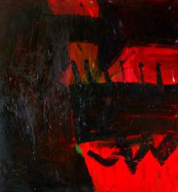 Czerwoni 120 cn x 120 cm,olej
