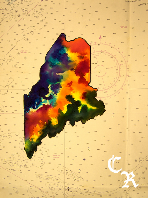 Maine Topographical Map Watercolor
