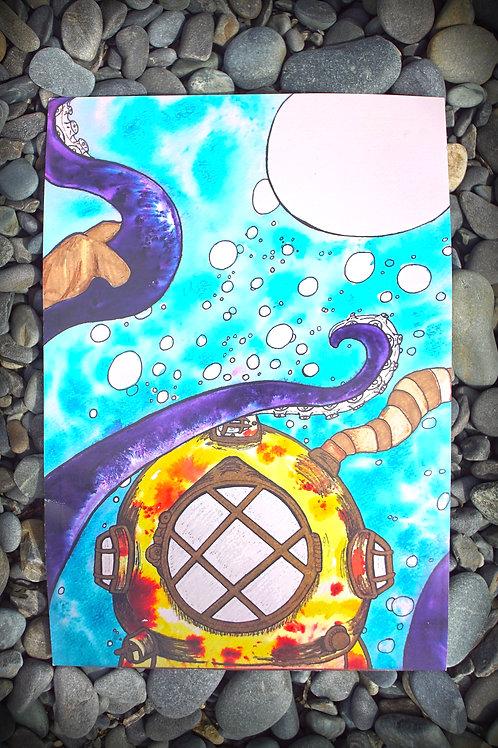 Octopus Attack Watercolor
