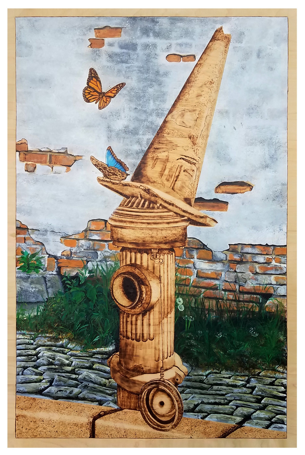 """""""Fire hydrant"""" (Something that we never notice) Pyrography, wood carving, acrylic acid and watercolor on cabinet grade maple plywood 122 x 81.2 x 3.175 cm"""