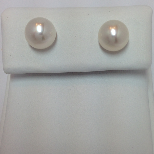 Fresh Water Half Drilled Button Pearls 8-8.5mm