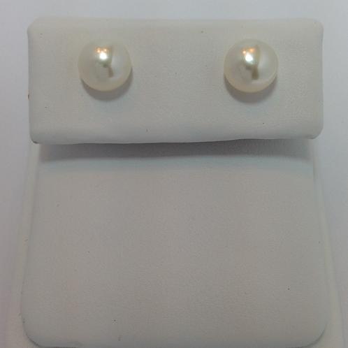 Fresh Water Half Drilled Button Pearls 7-7.5mm