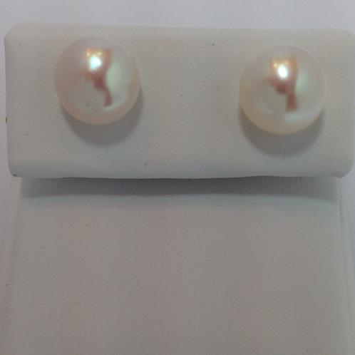 Fresh Water Half Drilled Button Pearls 10-10.5mm