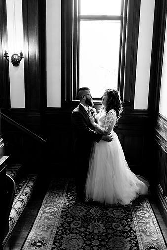 Bride and Groom in window