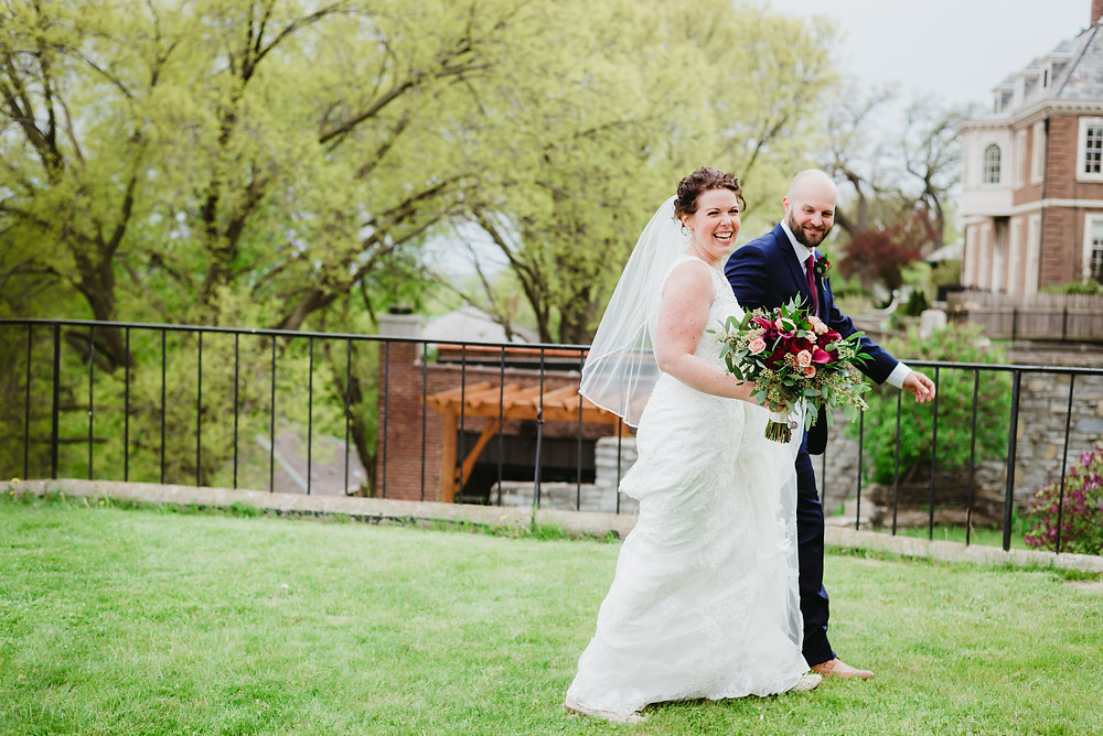 Bride and groom on their wedding day in st paul minnesota
