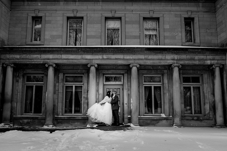 Bride and Groom outside at the Gale Mansion in Minneapolis