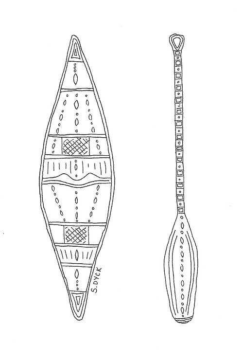 Greeting Card - Canoe and Paddle