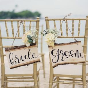Bride & Groom Wooden Signage